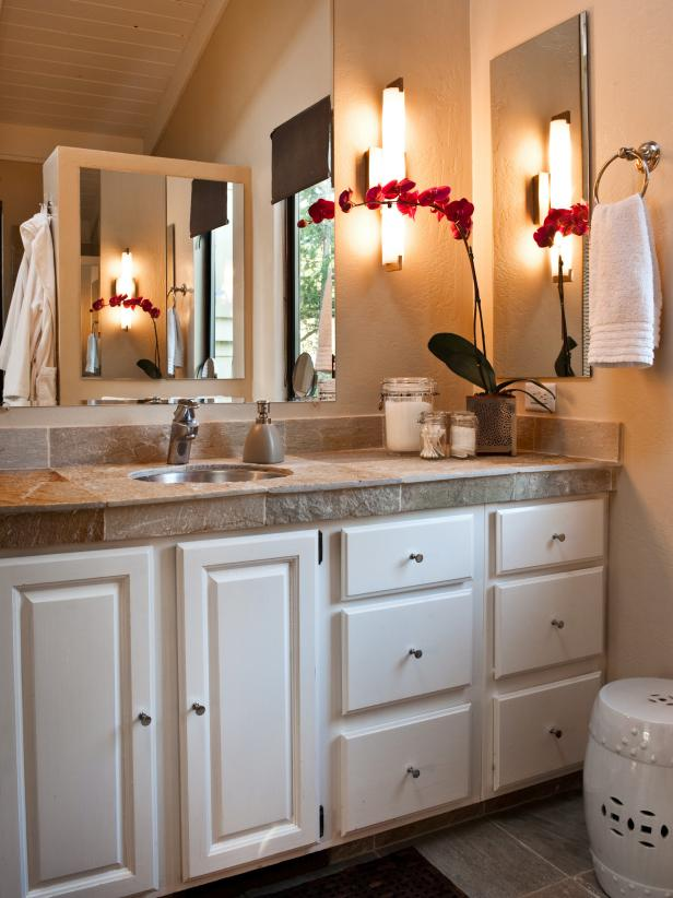 Transitional, Neutral Bathroom Vanity With Granite Countertop