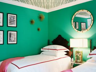 Green Bedroom With Wallpapered Ceiling