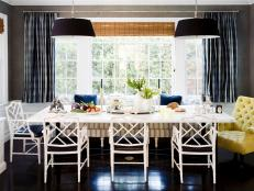 Dining Room With Black Pendant Lighting