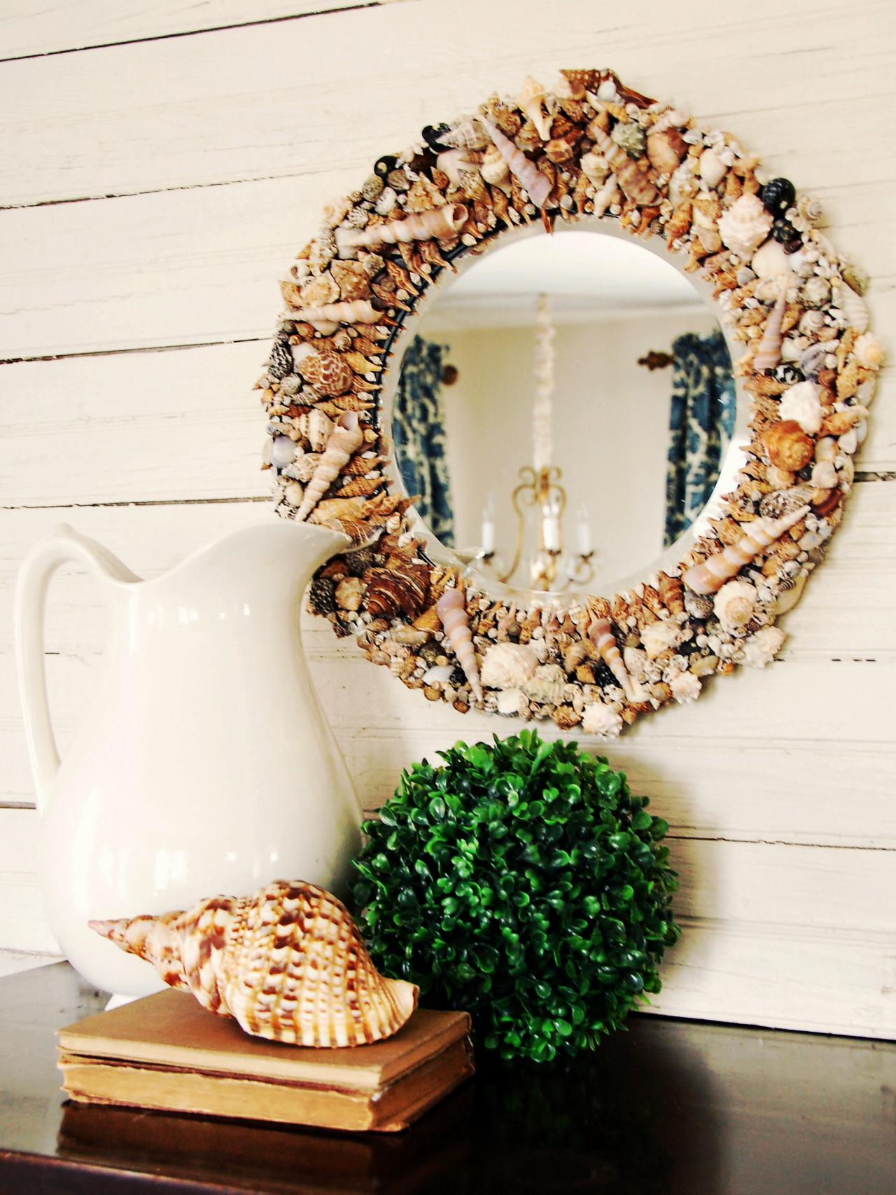 How to make a seashell mirror hgtv for Mirror decor