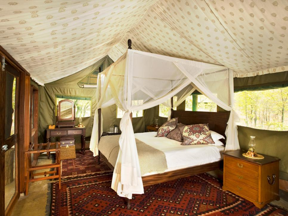 luxurious bedrooms World's Most Luxurious Bedrooms CI Africa Bushcamp Zungulila bedroom tent fabbric outdoor canvas s