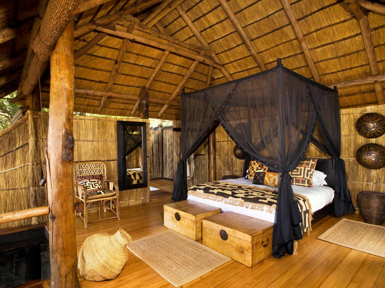 African Style Neutral Bedroom With Canopy Bed Hgtv