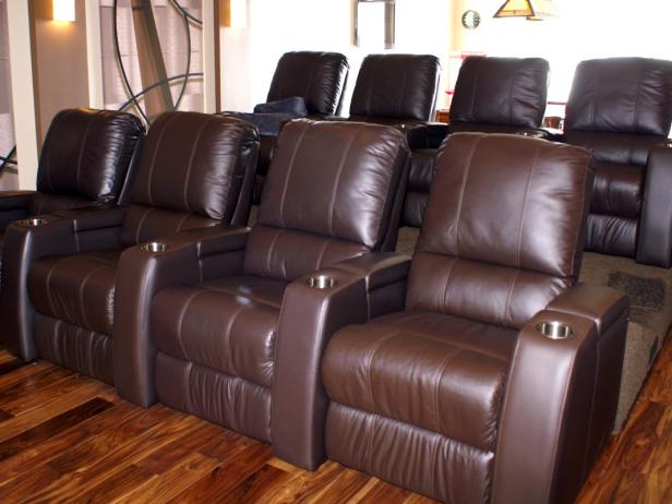 Brown Leather Home Theater Seating
