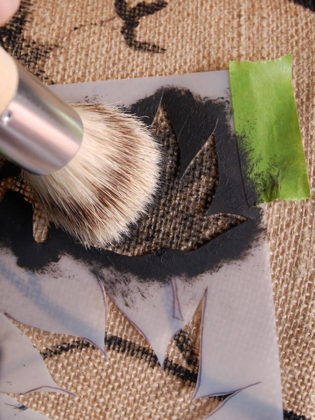 To ensure clean lines, paint away from stencil edges, blotting the brush on a paper towel prior to painting lampshade. For a more natural look, use different sizes and styles of leaves at end of branches. Tip: Rinse and dry stencil between uses to prevent paint from accidentally getting on lampshade