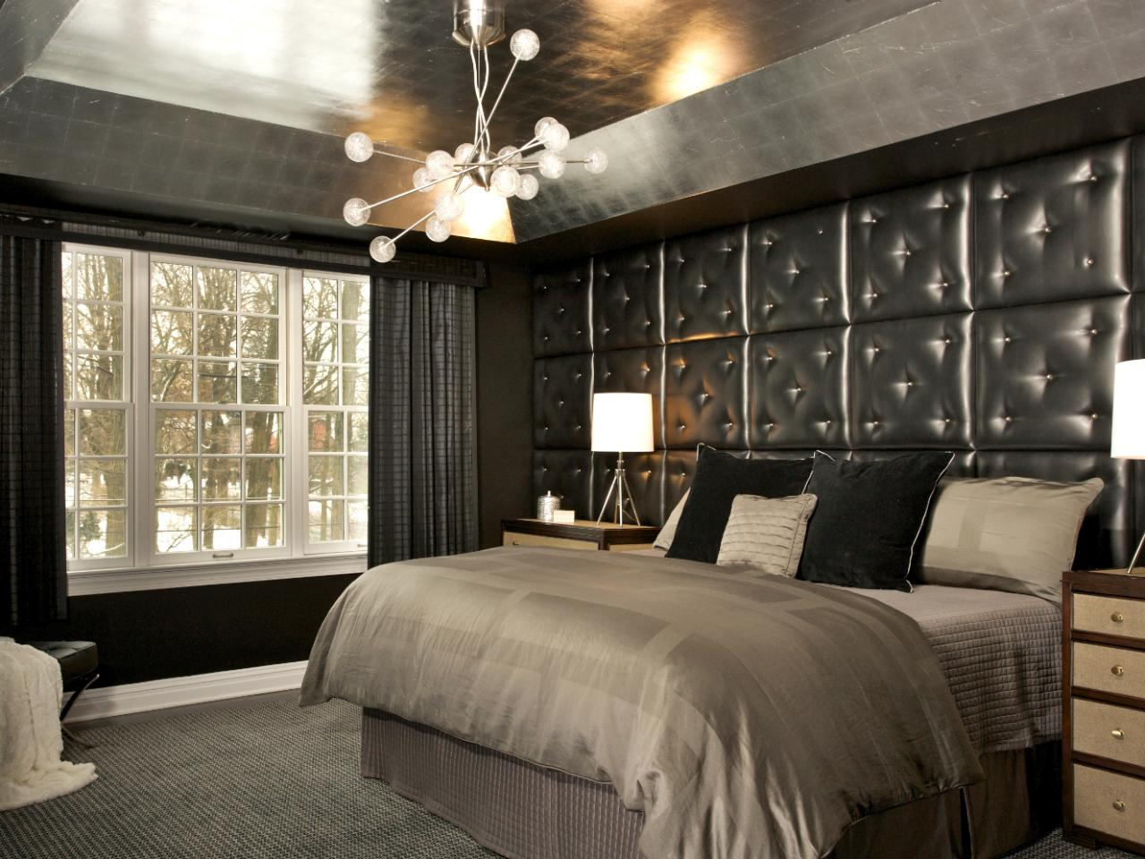 Nightclub Inspired Bedroom With Black Tufted Wall Hgtv