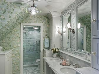 Traditional Green Floral Bathroom With Double Console Sink