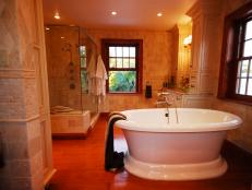 Neutral Transitional Bath With Freestanding Soaking Tub