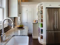 White Cottage Kitchen With Open Shelving
