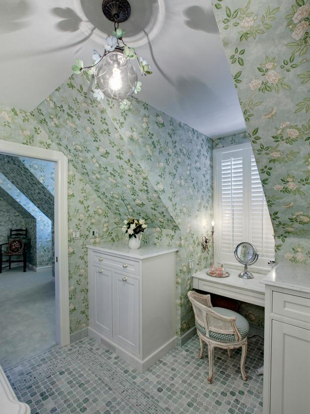 Traditional Bathroom With Green Floral Wallpaper and Makeup Vanity