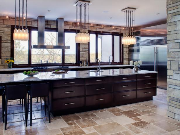 Large Contemporary Eat-In Kitchen With Stone Walls and Flooring