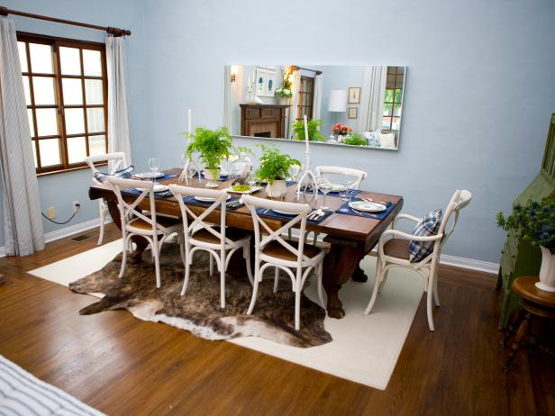 Blue-Gray Dining Room with Animal Hide Rug