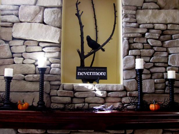 The Raven Inspired Fireplace Mantel