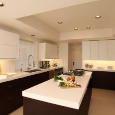 White Contemporary Kitchen with Large Island