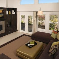 Contemporary Brown Living Room with Entertainment Center