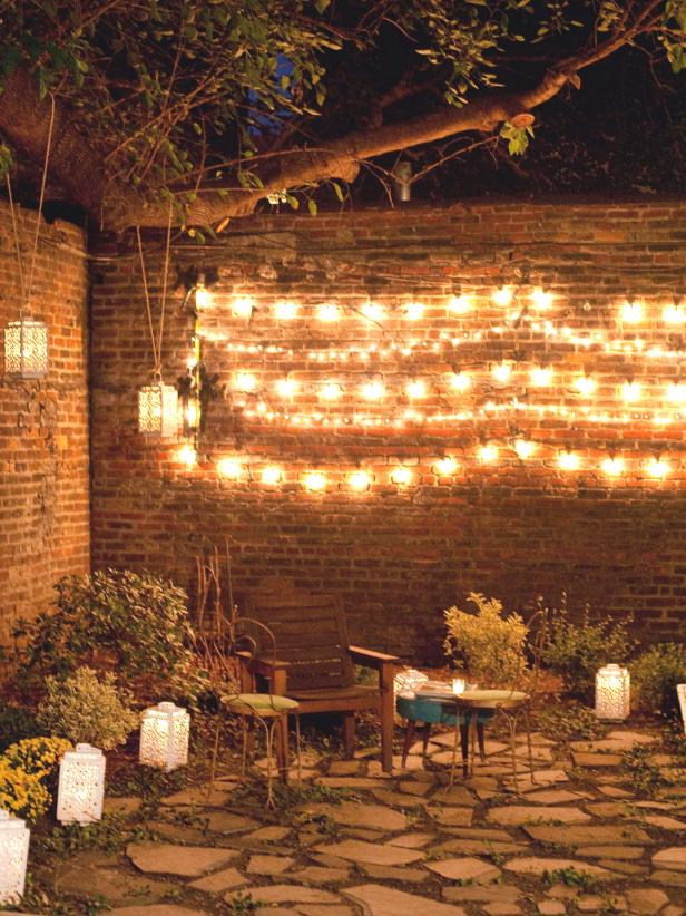 String Lights and Lanterns Illuminate Garden