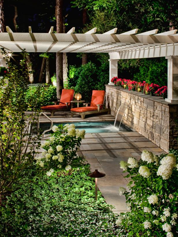 Neutral Pergola Covering Outdoor Spa Water Feature