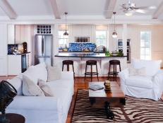 White Coastal Kitchen and Living Room
