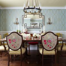 Elegant Dining Room With Swanky Blue Gold Wallpaper