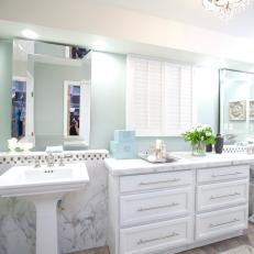Spa-Like Bathroom With Pedestal Sinks