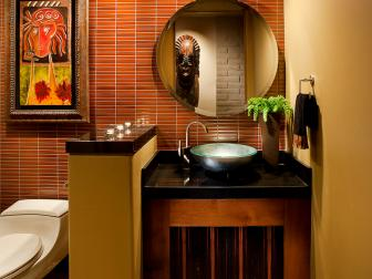 Red Tile Wall Adds Dimension to Contemporary Bathroom