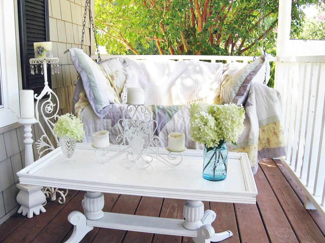 Shabby Chic White Porch With Swing Rmser Cobbcottage Found