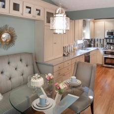Contemporary Gray and Cream Kitchen with Breakfast Nook