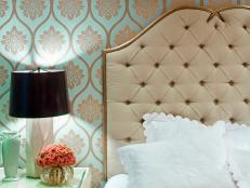 Contemporary Bedroom With Metallic Wallpaper and Velvet Tufted Headboard