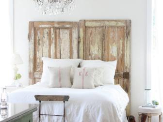 Shabby Chic Bedroom With Door Headboard