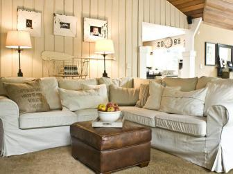 Coastal Cottage Living Room With Sectional