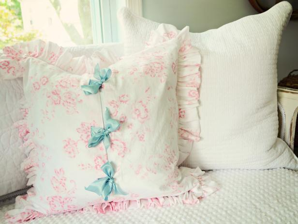 Shabby Chic Pillowcase With Ruffle and Bows