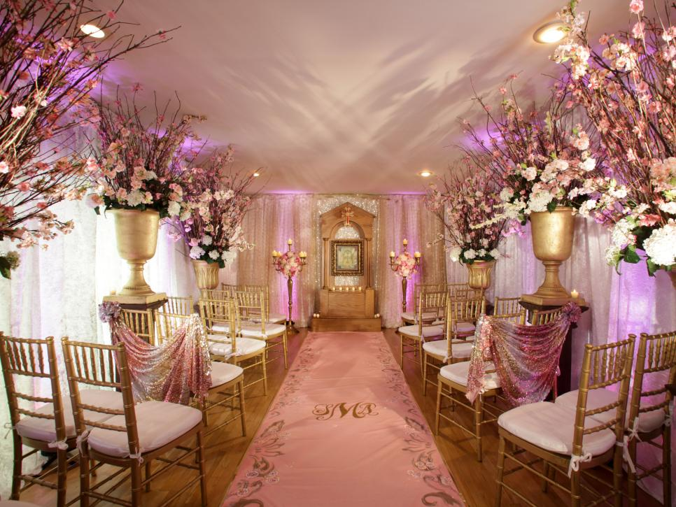 A big pink new jersey wedding hgtv for Wedding interior decoration images