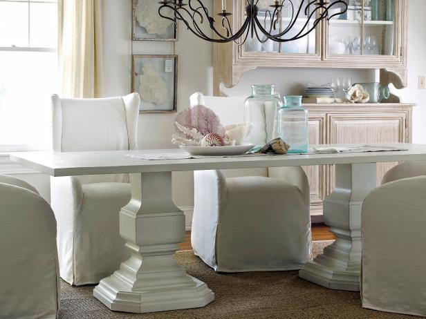 Coastal decorating ideas beachfront bargain hunt hgtv for White dining table decor ideas