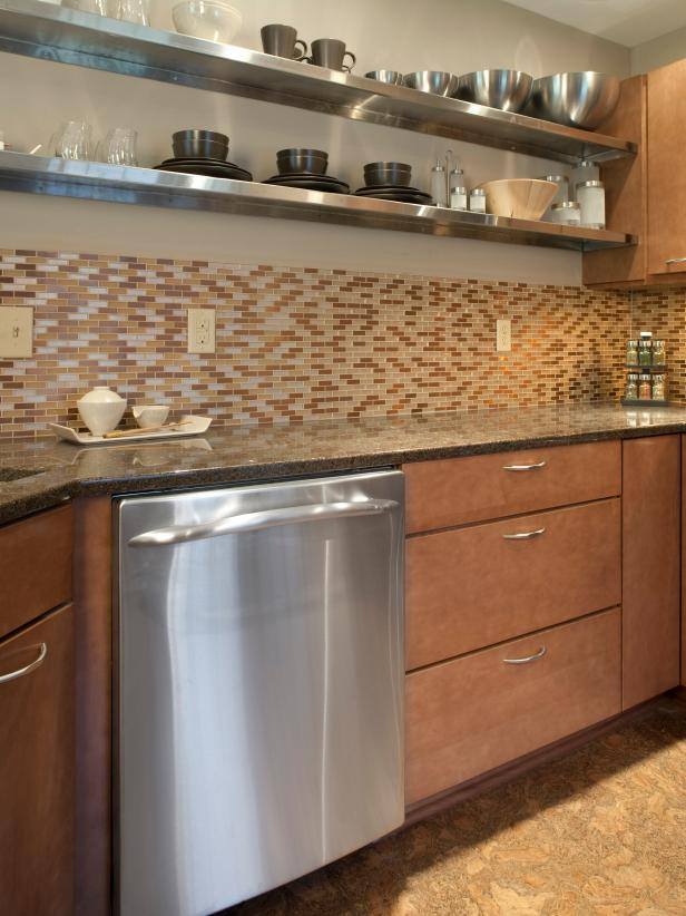 Contemporary kitchen with tile backsplash.