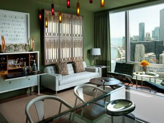Contemporary Green and Blue Living Room With Urban View