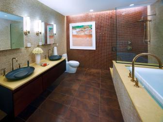 Neutral Spa Bathroom With Black Sinks