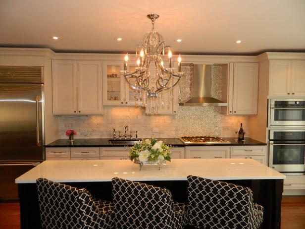 Romantic Kitchen with Chandelier