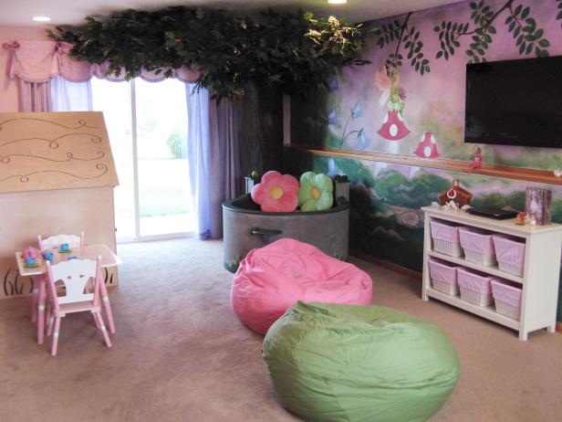 Girls' Playroom With Fairy Garden Mural and Playhouse