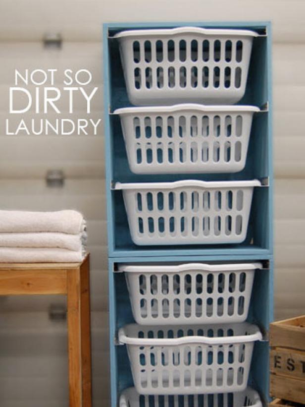 Laundry Room Tote Bin Storage Unit