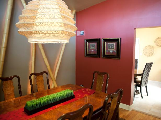 Asian Dining Room With Burgundy Accent Wall Hgtv