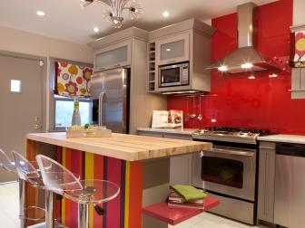 Eclectic Bold Kitchen With Red Glass Backsplash