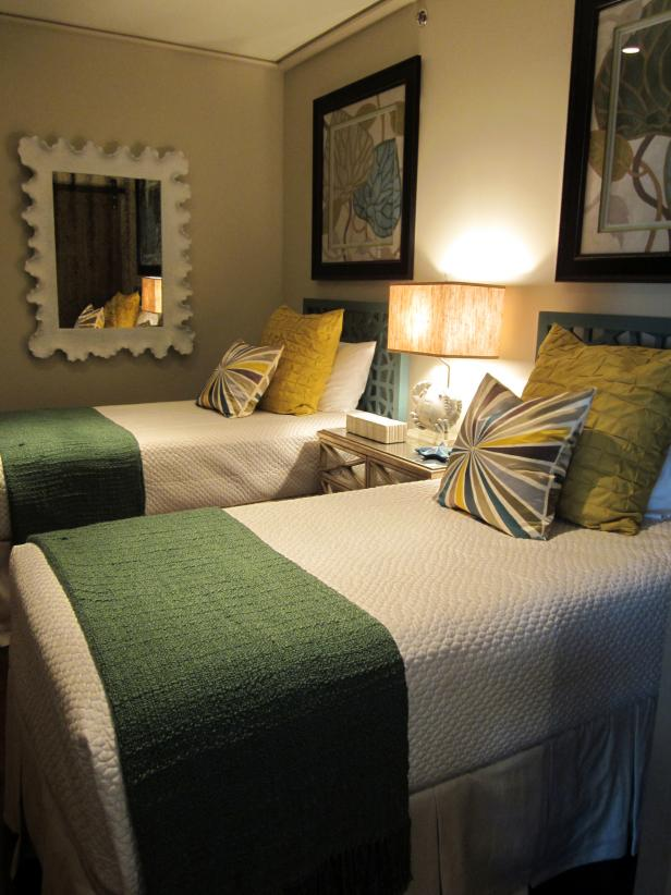 White Twin Beds in Green and Gold Transitional Bedroom