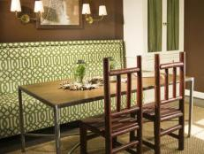 Neutral Country Dining Space With Patterned Banquette