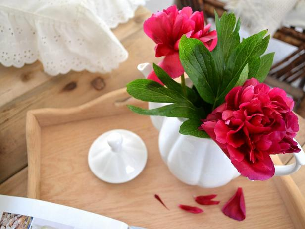 Flowers in Teapot Centerpiece