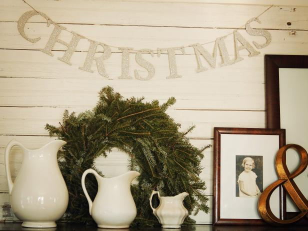 Glittery Christmas Banner & Wreath