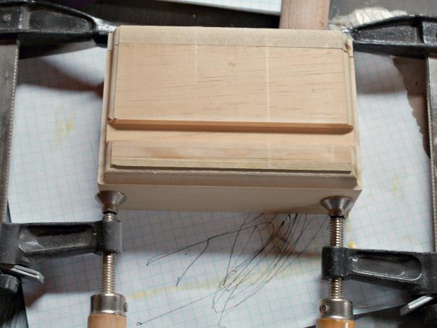 Gluing Chalkboard Stocking Hangers