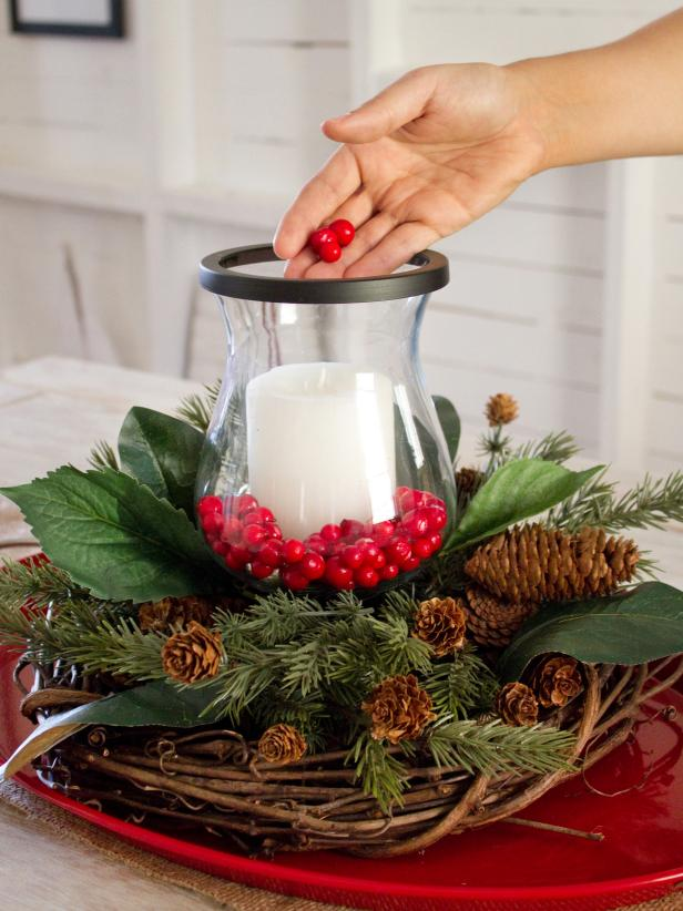 Placing Faux Berries in a Centerpiece Step 5
