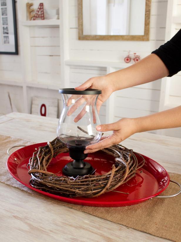 Placing a Pedestal Candleholder in Centerpiece Step 2