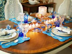 Blue Hanukkah Table Decor