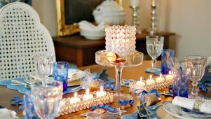 Dining Table Set With Blue Decorations for Hanukkah