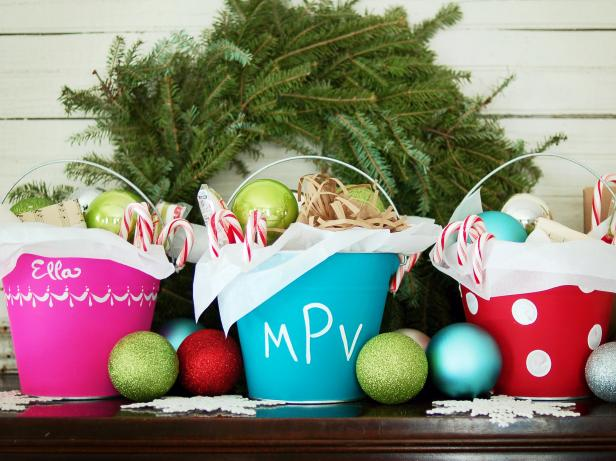 Christmas Stocking Pails With Candy Canes & Decorative Balls